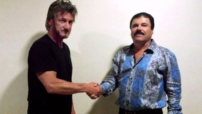 Sean Penn and recaptured Mexican drug lord Joaquin Guzman Loera also known as 'El Chapo'. The Hollywood actor met El Chapo after his escape from a Mexican prison in 2015. Picture: Rolling Stone