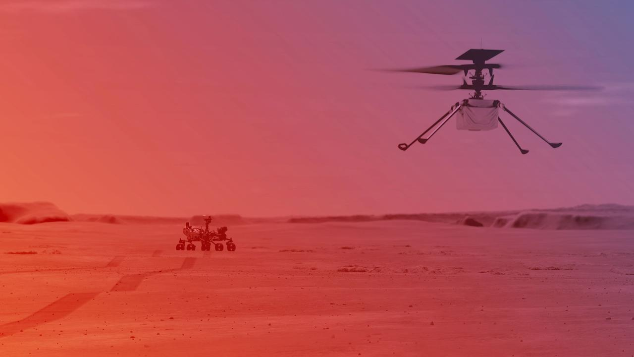 An illustration of the Ingenuity helicopter that NASA hopes to launch from the Perseverance rover on Mars. Picture: NASA