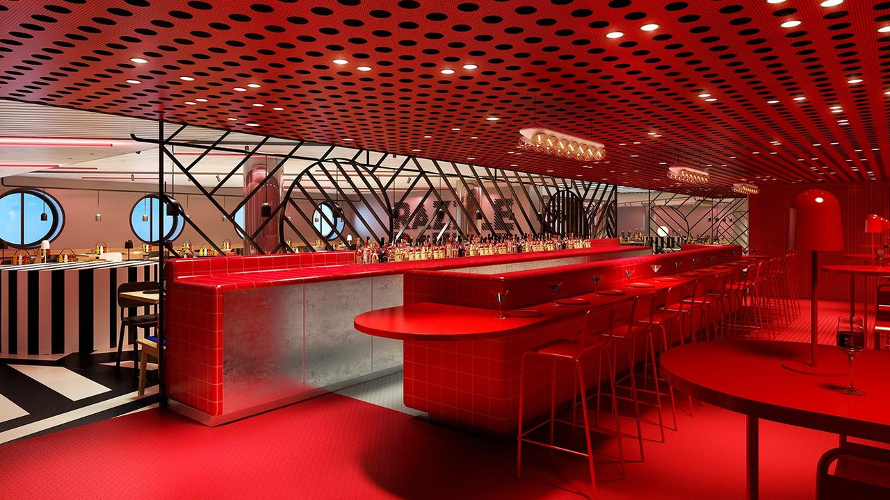 A rendering of Virgin Voyages' first ship, Scarlet Lady. Picture: Virgin Voyages