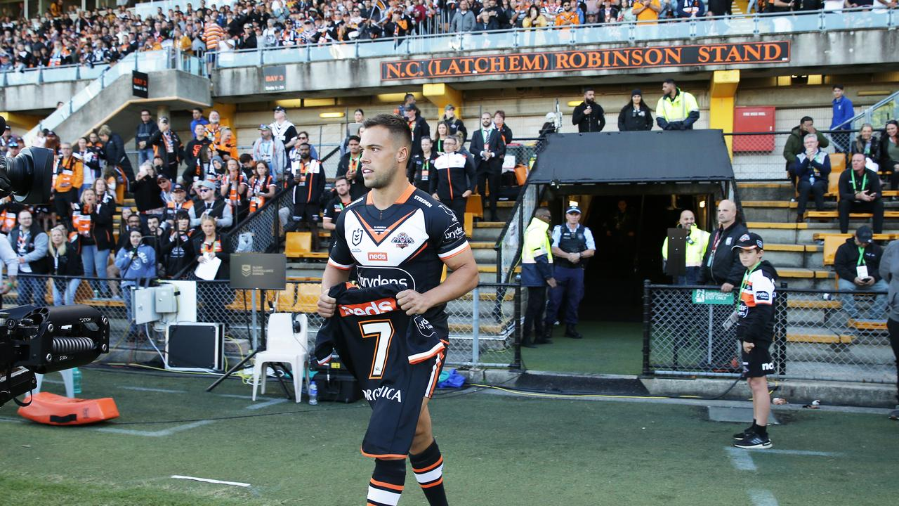 The great Tommy Raudonikis was honoured, with the Tigers. No.7 jersey retired from this match. Picture: Getty Images.