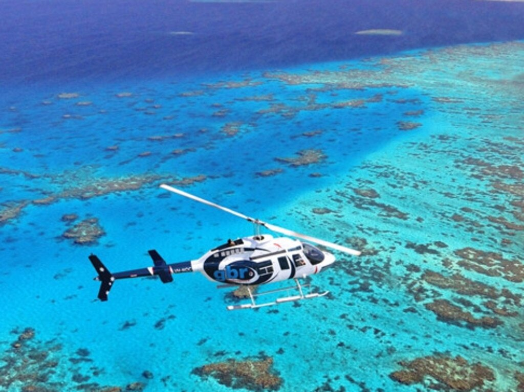 Photo of GBR Helicopter over the Great Barrier Reef,