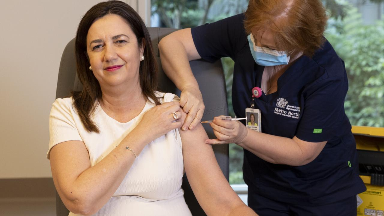 Queensland Premier Annastacia Palaszczuk said she received the Pfizer vaccine because she may need to travel to Tokyo. Picture: NCA NewsWire / Sarah Marshall