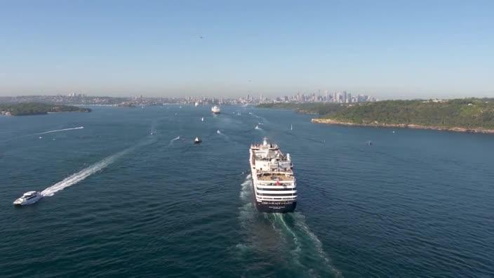 Incredible drone vision of P&O ships rolling into Sydney Harbour