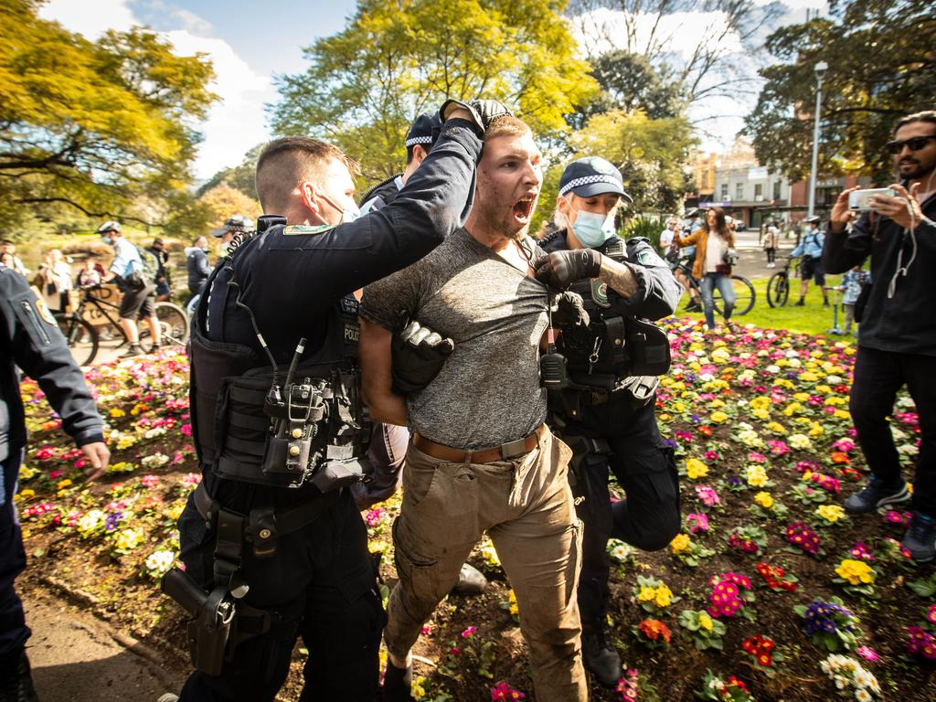 Nikola Dedovic was arrested during Saturday's anti-lockdown marches. (Pictures by Julian Andrews).
