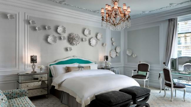 Tiffany, New York Ensconced in the St Regis New York, this elegant apartment is festooned with splashes of what is arguably the most famous blue on the planet. There is also a chandelier dripping in pearls and the private butler will unpack then press your clothes. The views over Central Park are magnificent if you can tear your eyes away from the interiors. Picture: Supplied by The St. Regis New York