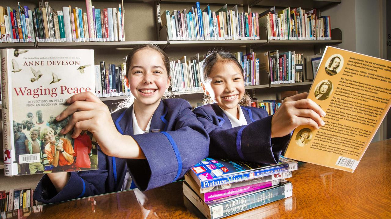 Brisbane Girls Grammar School students Eva Lusk and Aily Chang. Picture: Nigel Hallett
