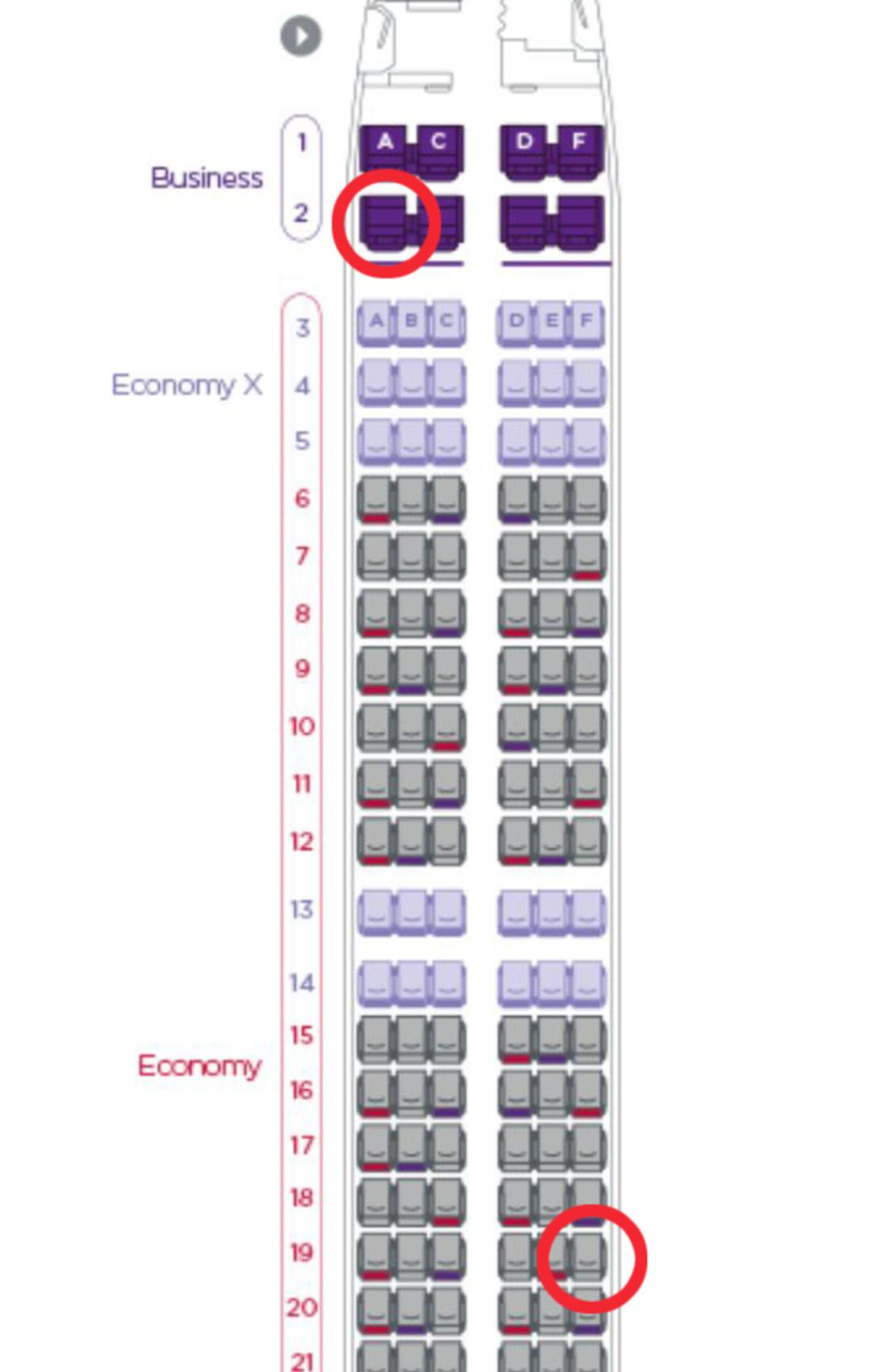 Seats 2A in business class and 19F in economy are the most popular seats on Virgin Australia flights. Picture: Virgin Australia