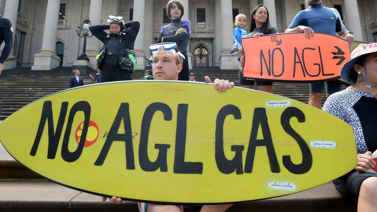 Protestors gather outside Parliament House to oppose the Victorian Government's plans for the AGL gas import terminal at Westernport Bay. Picture: NCA NewsWire / Andrew Henshaw