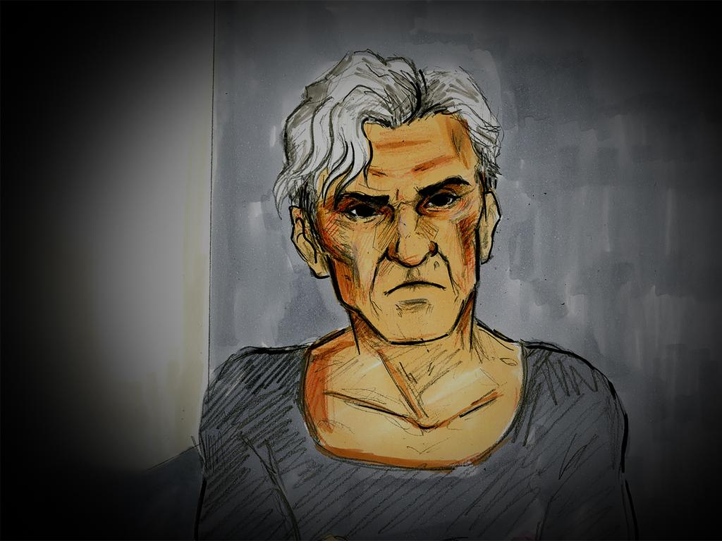 A court sketch of former AFL player and coach Dean Laidley on Monday. Picture: Nine News/AAP