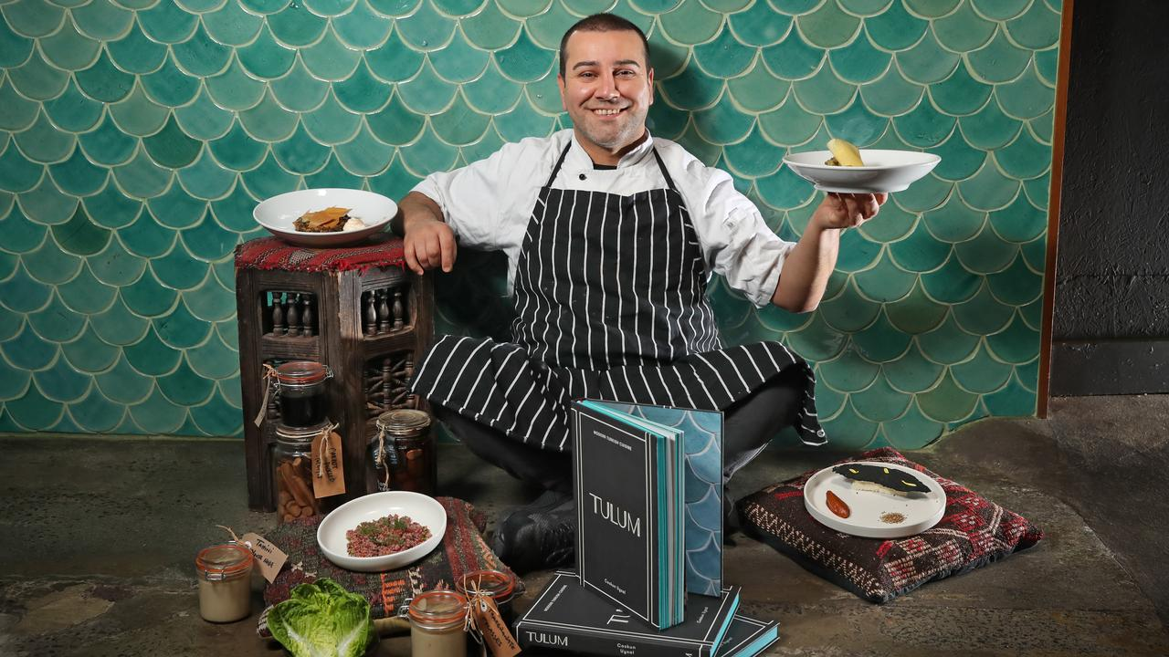 Tulum chef and owner Coskun Uysal with his dishes. Picture: Alex Coppel.