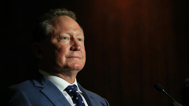 Andrew 'Twiggy' Forrest, CEO of Fortescue Metals holds a press conference at the Four Seasons hotel in Sydney. Picture: Toby Zerna