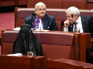 One Nation Senator Pauline Hanson wears a burqa during Senate Question Time. Pic: AAP.