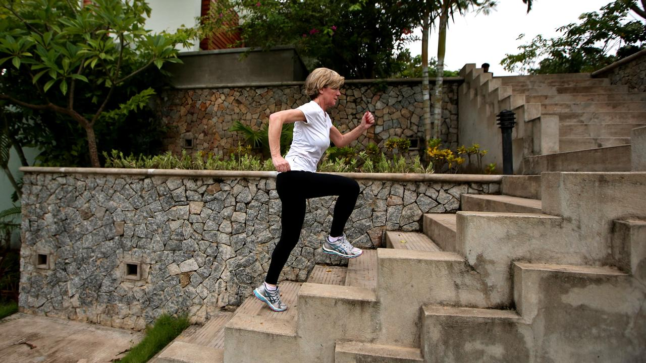 Julie Bishop on her morning run in Myanmar prior to the ASEAN Foreign Ministers Meeting and East Asia Summit in 2014.