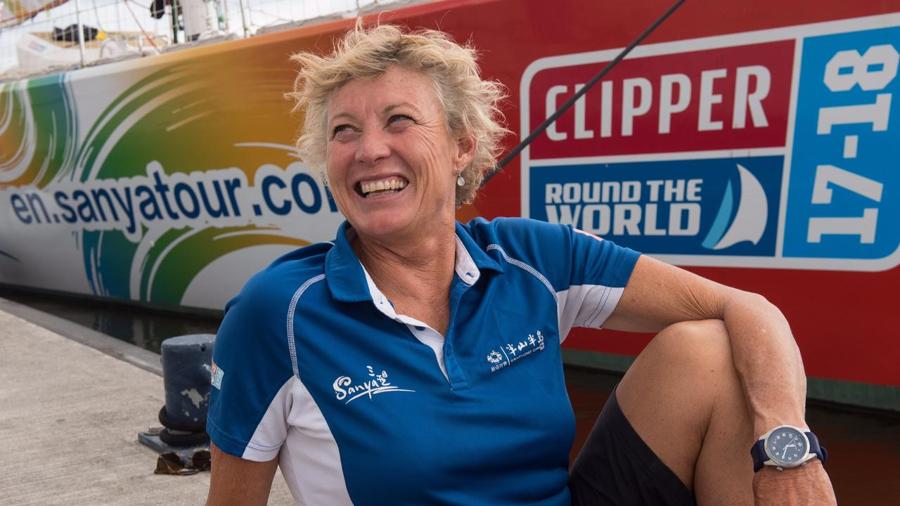 Wendy Tuck has become the first woman to skipper a winning yacht in an around-the-world race.