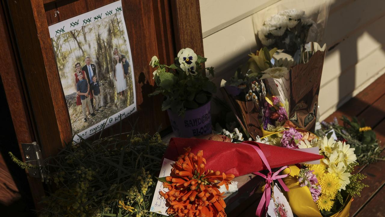 A floral tribute at the community centre. Picture: Michael Wilson, The West Australian.