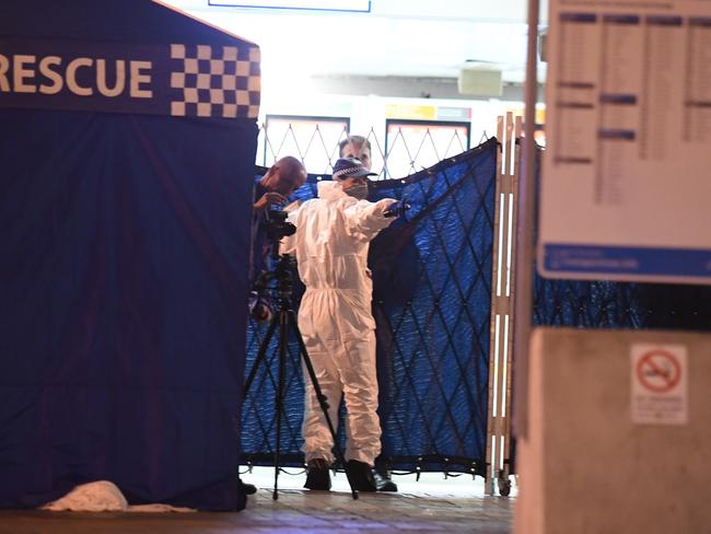 The latest attack happened at 8.30am at Henry Deane Plaza at Central station when a man armed with scissors entered a shop. Picture: Sam Mooy.