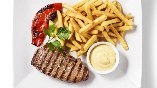 The Danes are seriously classy Check out what they dine on when they ride their super chic bicycle to Ikea - a 200g Danish beef striploin served with bearnaise sauce, fries and grilled peppers.
