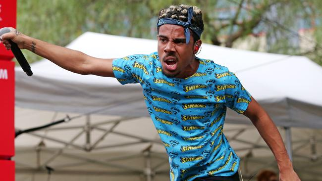 Vic Mensa working blue at 2015 St Jerome's Laneway Festival - Melbourne. Vic Mensa. Picture: Mark Stewart
