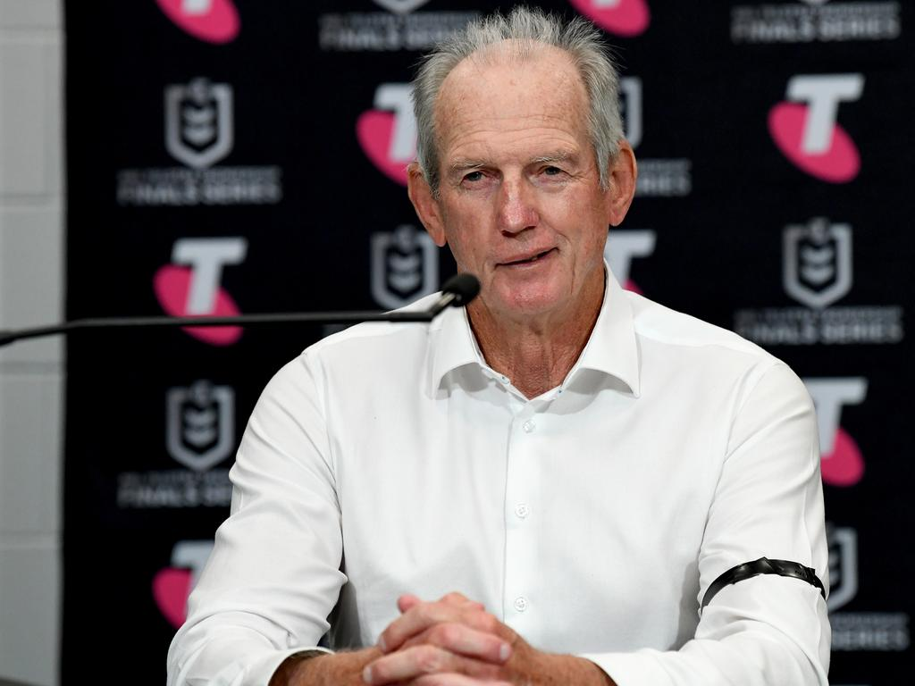 BRISBANE, AUSTRALIA - SEPTEMBER 24: Coach Wayne Bennett of the Rabbitohs speaks during a press conference after the NRL Grand Final Qualifier match between the South Sydney Rabbitohs and the Manly Sea Eagles at Suncorp Stadium on September 24, 2021 in Brisbane, Australia. (Photo by Bradley Kanaris/Getty Images)