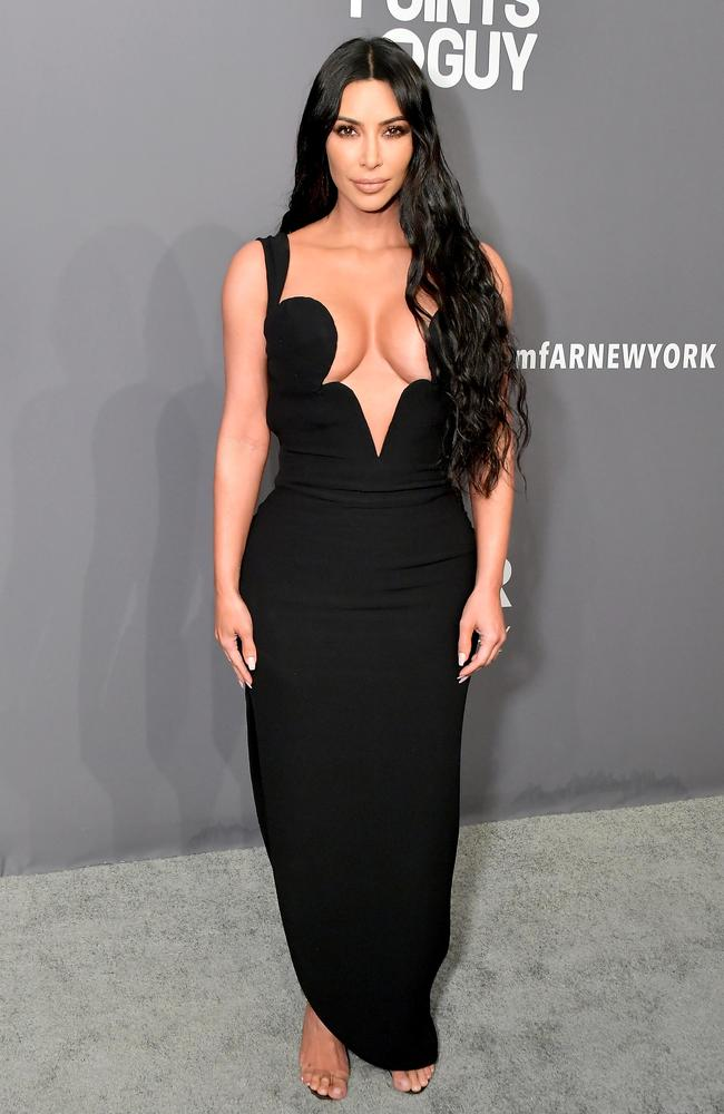 A less tightly-cinched Kim at a February event. Picture: Michael Loccisano/Wire Image