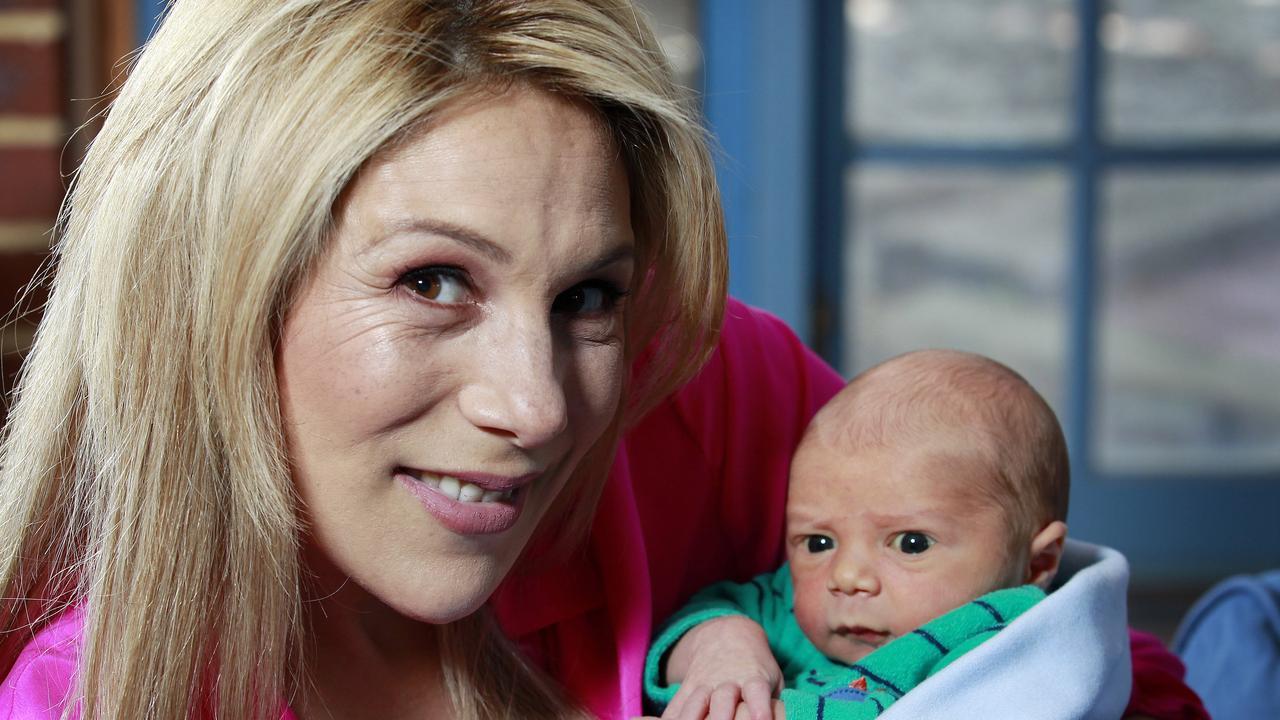 Lisa Fernandez with her then newborn baby Hudson, in 2016