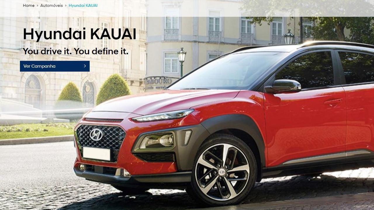 The Hyundai Portugal website shows the Kona as Kauai