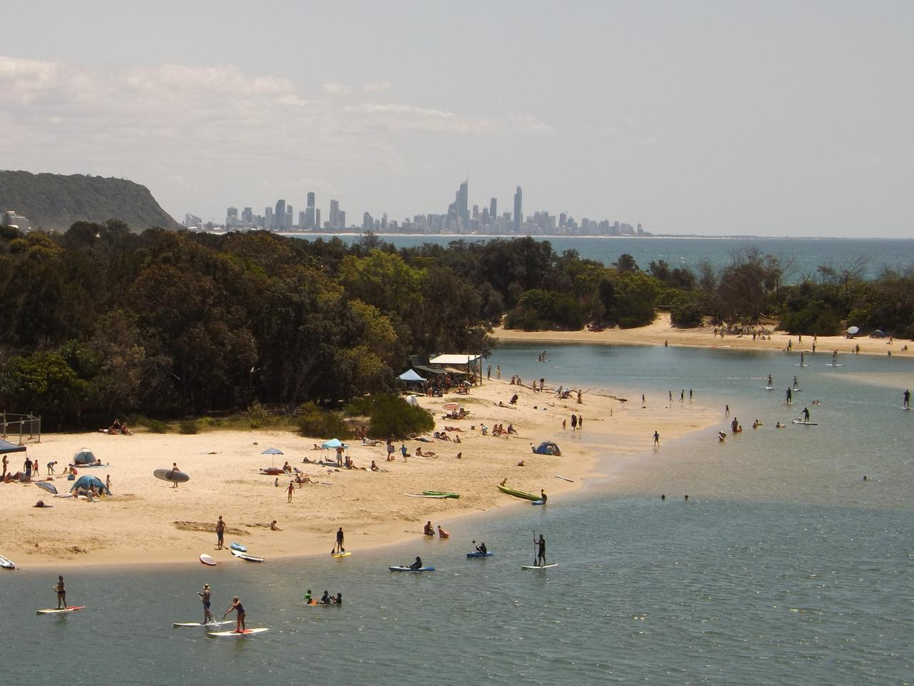 Currumbin Creek to the Palm Beach parkland with the sky scrapers of Surfers in the backgound. Great place to live Photo by Cynthia Barrow