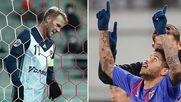 Ola Toivonen is downcast while Leandro is jubilant.