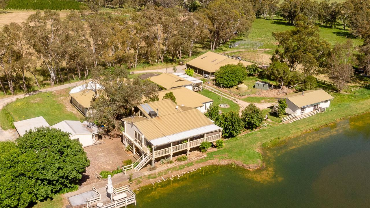 The expansive 29.16ha property at 210 Brookman Road, Meadows, boasts 11 buildings including five separate dwellings, a function/games room, shedding and toilet blocks.