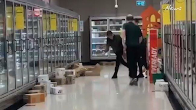 Woolies staff caught chucking boxes