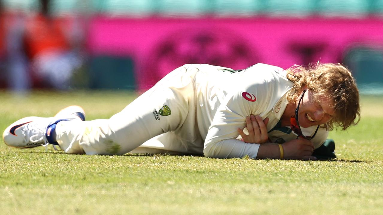 Will Pucovski hurt his shoulder in his debut Test. Picture: Ryan Pierse / Getty Images