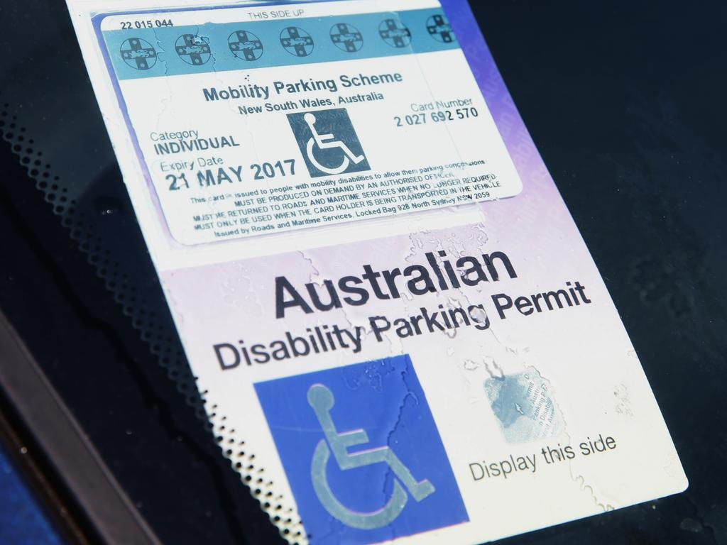 Driver must display a disability parking permit when parking in these bays. Picture: Bill Hearne