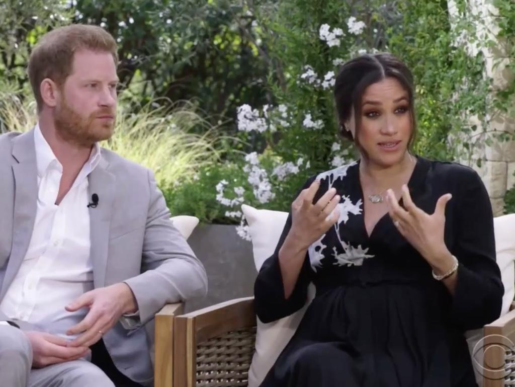 Harry and Meghan during their tell-all interview with Oprah Winfrey. Picture: CBS