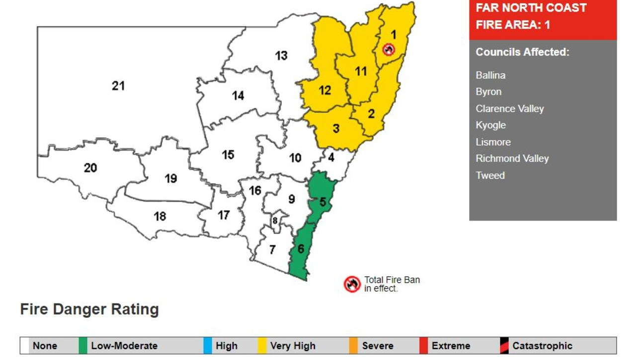 The fire danger ratings in NSW for Friday, September 25, 2020. Picture: NSW RFS