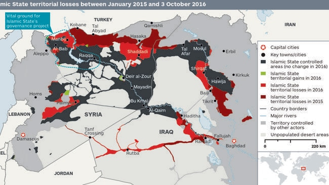 Islamic State territorial losses between January 2015 and 3 October 2016. Picture: IHS