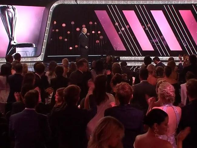 Bert Newton gets a standing ovation at the 2018 Logies. Picture: Channel 9