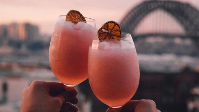 The Frozés with vodka, verjuice, rosè and strawberry at Hotel Palisade, Sydney. Picture: Instagram/@fluffpiece