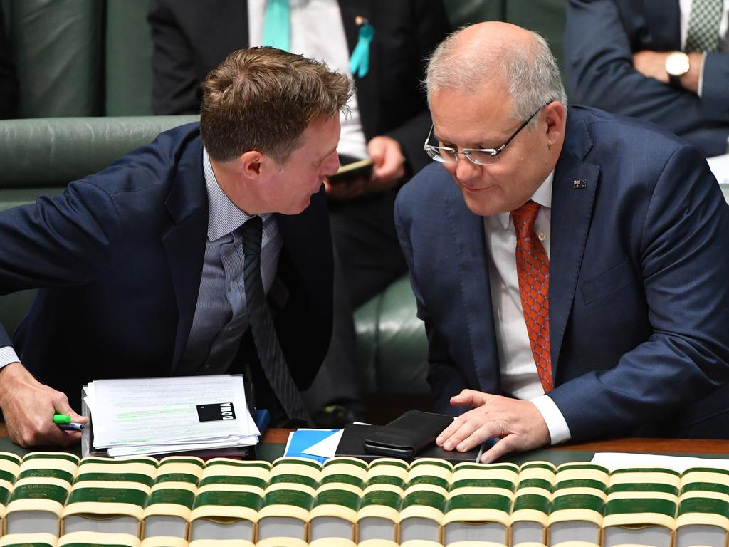 Attorney-General Christian Porter and Prime Minister Scott Morrison released the second draft of the Bill in December. Picture: Mick Tsikas/AAP