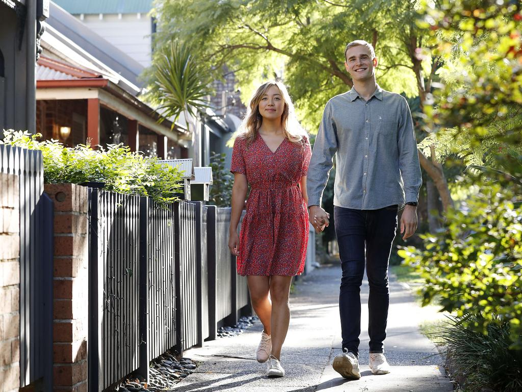 First-home buyers Kim Nguyen and Arnie Brabbs said their search for a home is getting expensive because they keep missing out. Picture: Toby Zerna
