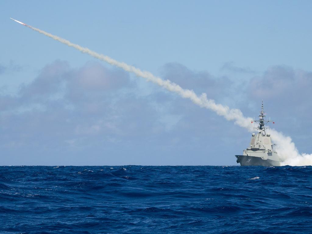 Air Warfare Destroyer HMAS Hobart successfully firing a Harpoon Blast Test Vehicle in the East Australian Exercise Area.
