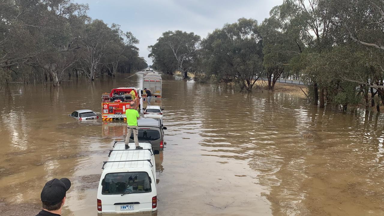 Flooding on the Hume Freeway near Wangaratta. Picture: Taylor McPhail