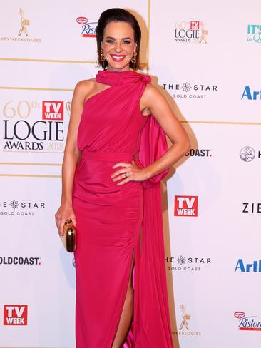 News presenter Natarsha Belling adds a pop of pink to the red carpet in this head-turning number. Picture: Chris Hyde/Getty Images