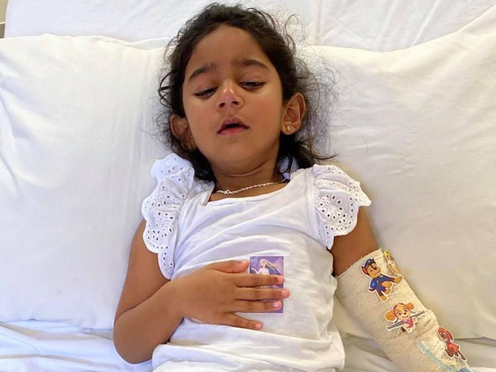 The youngest daughter of the 'Biloela family' Tharnicaa, was medically evacuated to Perth after being hospitalised on Christmas Island with a suspected blood infection. Picture: Supplied