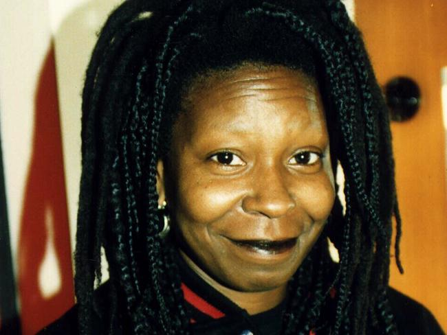A younger Whoopi in Adelaide during an Australian visit. Brows not brought. Picture: Heather Blewett