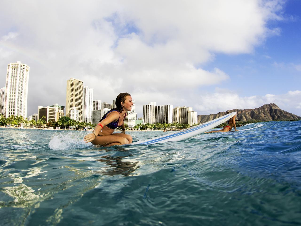 Women Surfers Waiting For Waves Waikiki Beach Honolulu Hawaii