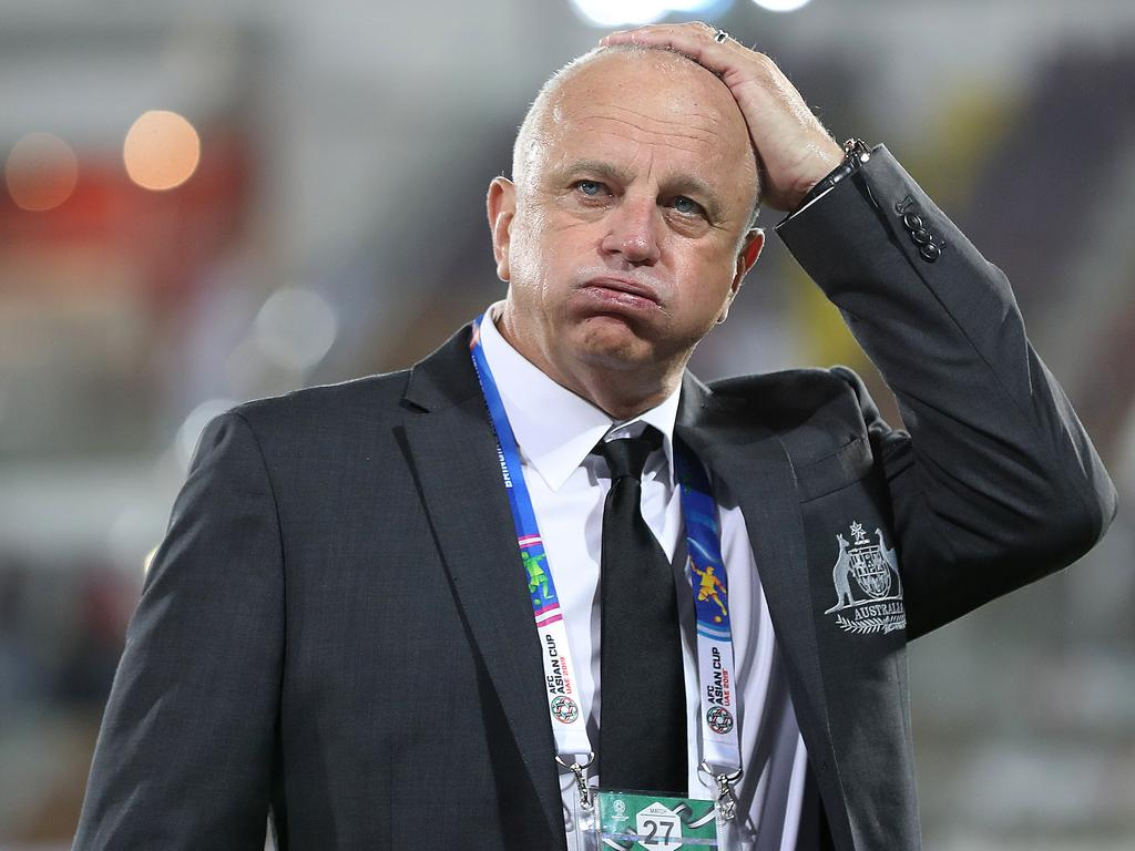 AL AIN, UNITED ARAB EMIRATES - JANUARY 15:  Graham Arnold the Head Coach of Australia shows his relief after his side's 3-2 victory during the AFC Asian Cup Group B match between Australia and Syria at Khalifa Bin Zayed Stadium on January 15, 2019 in Al Ain, United Arab Emirates. (Photo by Francois Nel/Getty Images)