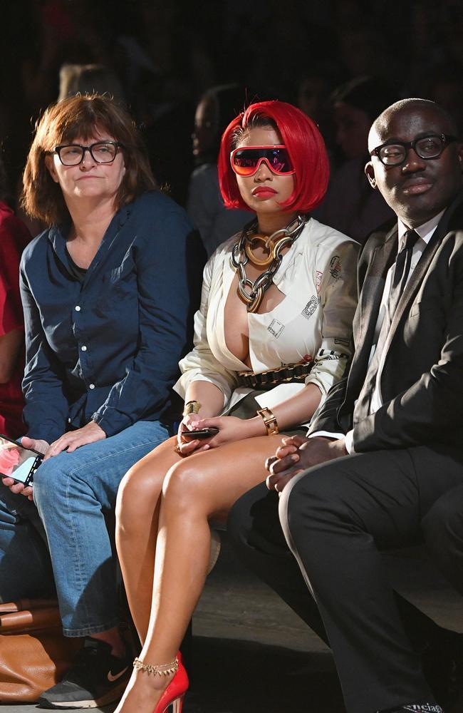 Nicki Minaj with British Vogue editor Edward Enninful at New York fashion Week. Picture: Getty Images