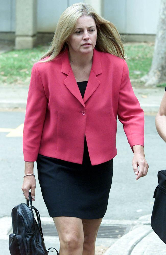 Joanne Curtis arrives to give evidence at the 2003 inquest into the disappearance of her ex-husband's first wife, Lyn Dawson.
