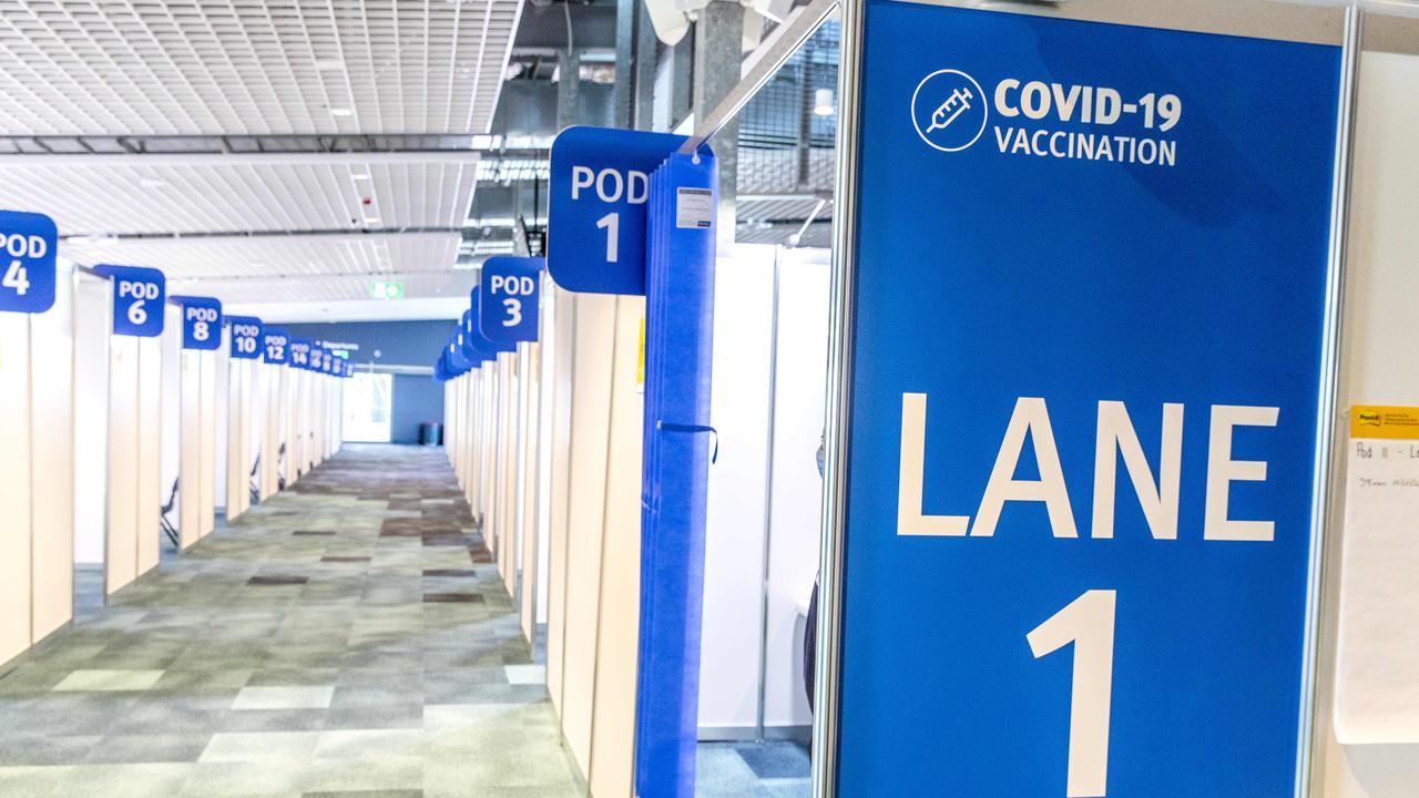 Pinkenba COVID Vaccination Hub at Brisbane International Cruise Terminal. Picture: Richard Walker.