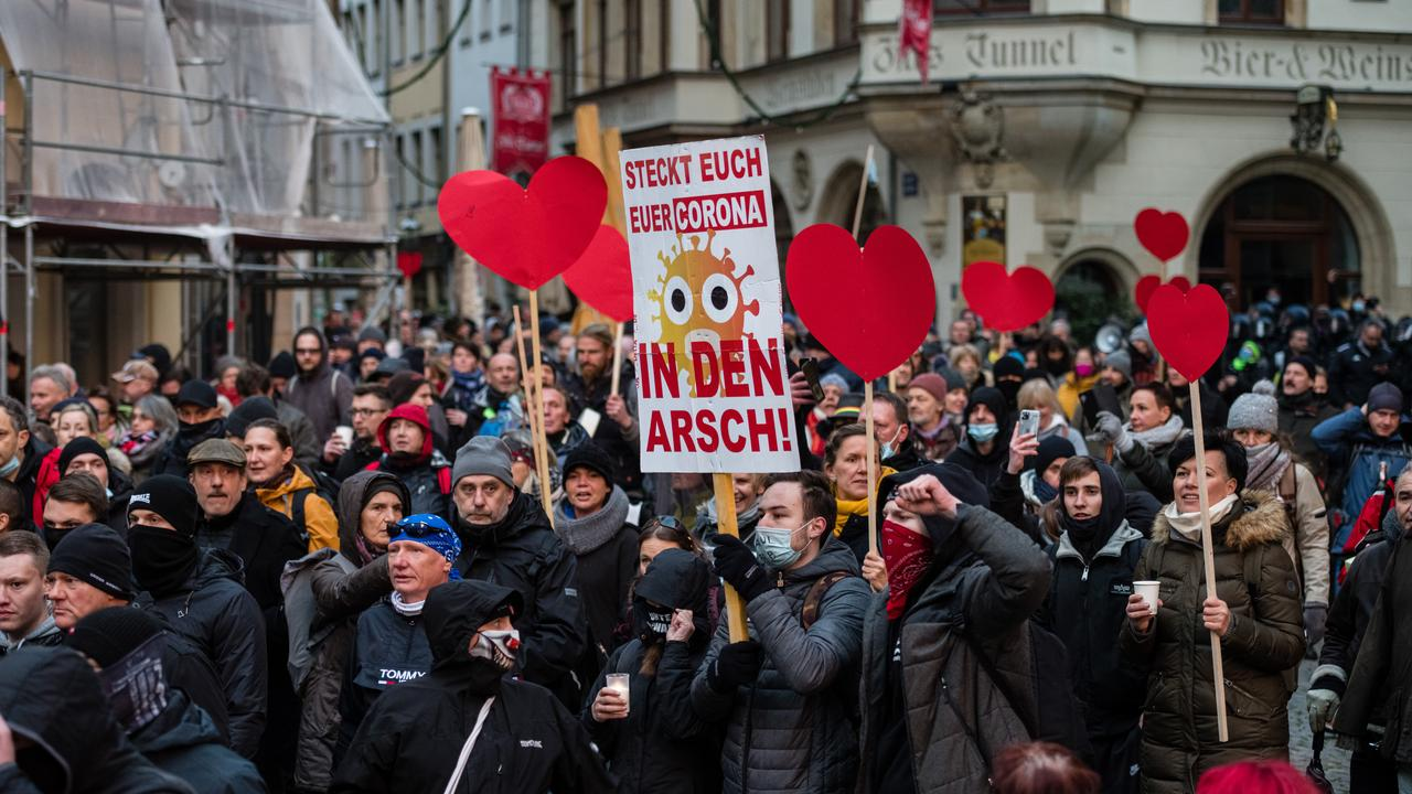 The Querdenken movement includes vaccine and mask opponents, conspiracy theorists and some far-right extremists, and has long protested German virus measures. Picture: Stringer/Getty Images